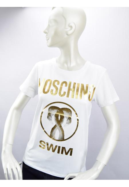 Moschino Swim T-shirt Donna Bianco/Oro